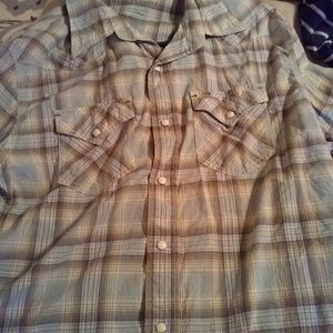 Men's size Large plaid LS collared button up